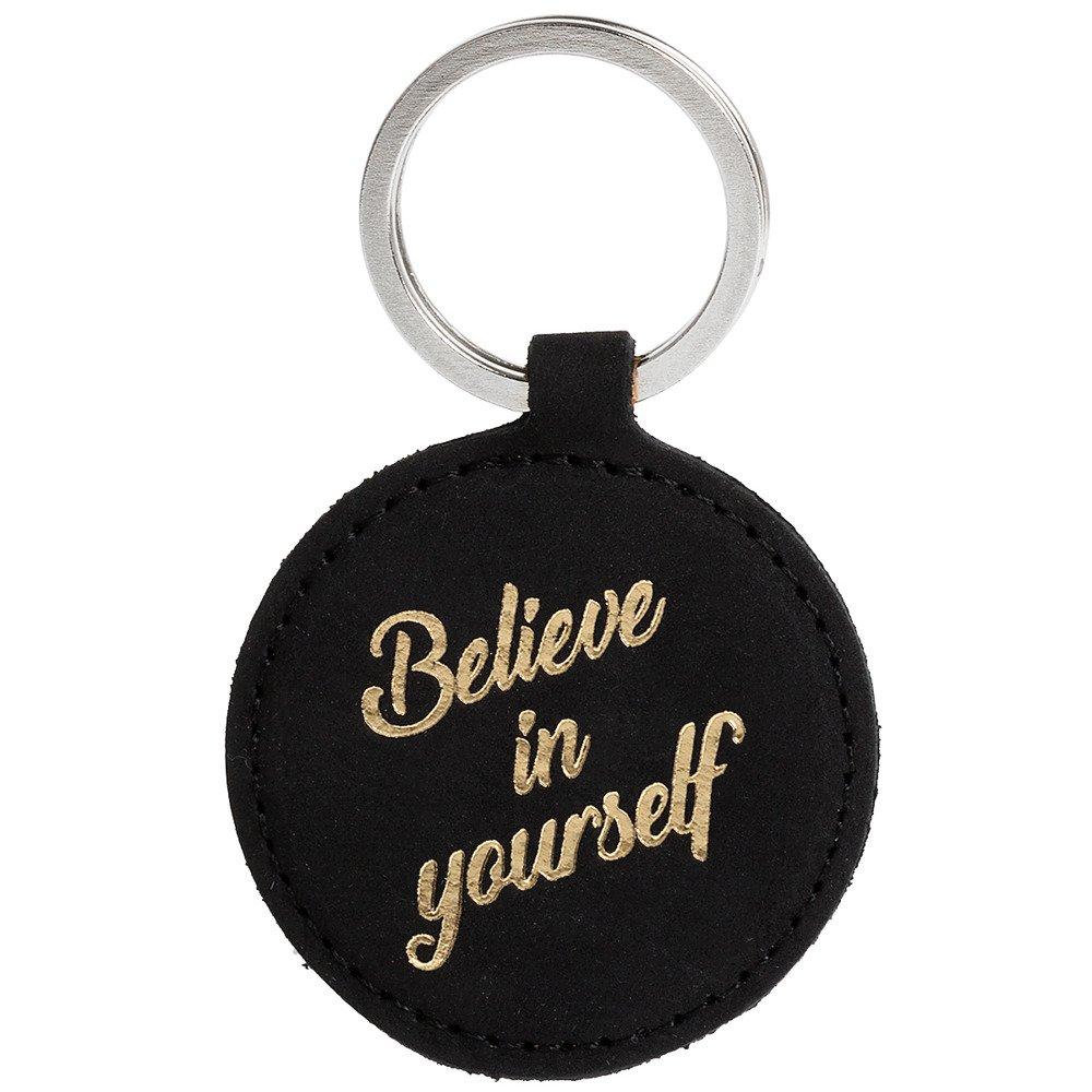 Leather Keychain - Nubuck Black - Believe in yourself