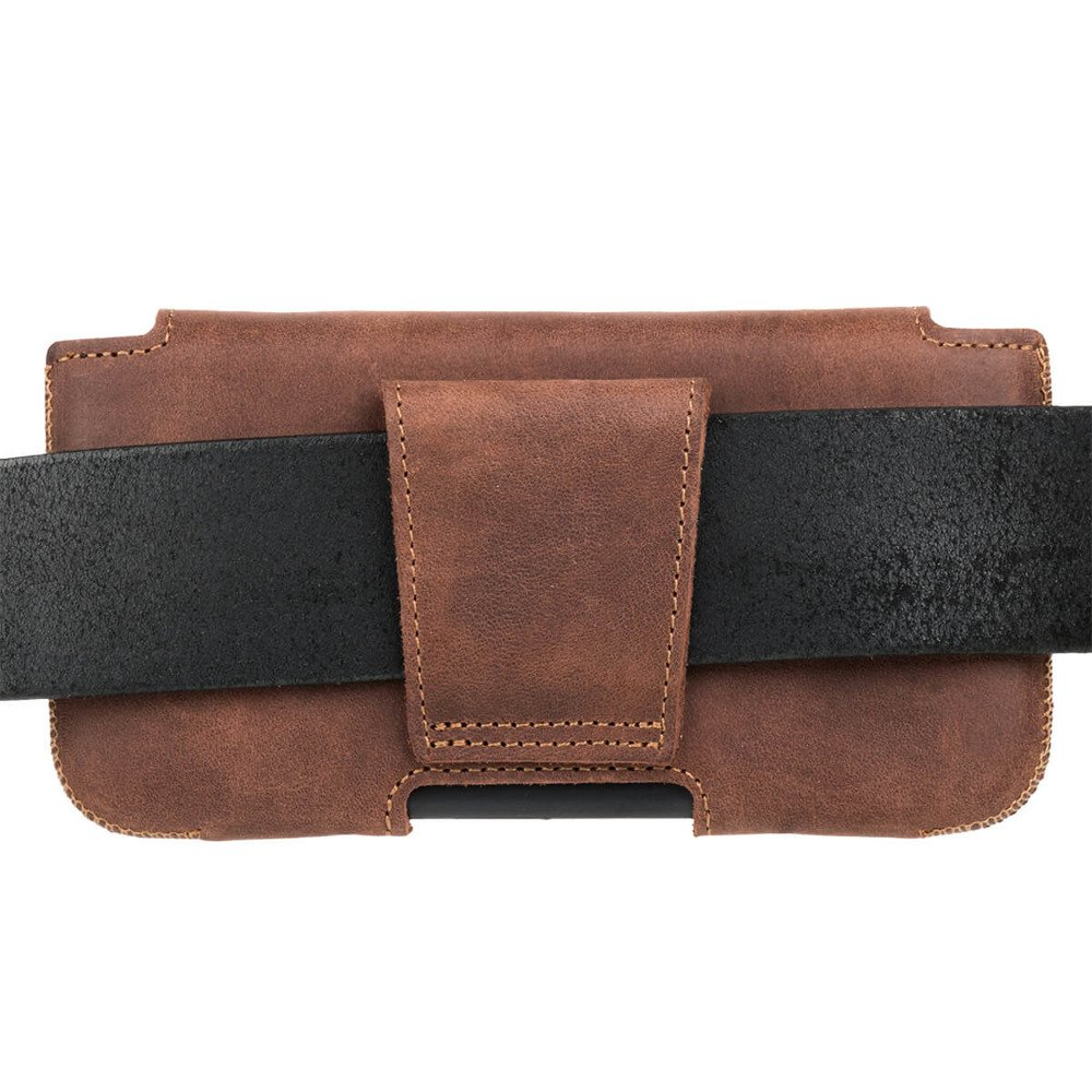 Surazo Leather Belt Pouch case Nubuck - Nut brown - Indian