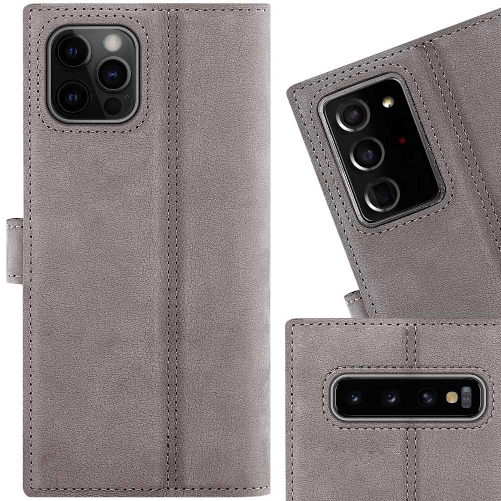 Surazo® Leather Wallet phone case Nubuck - Gray