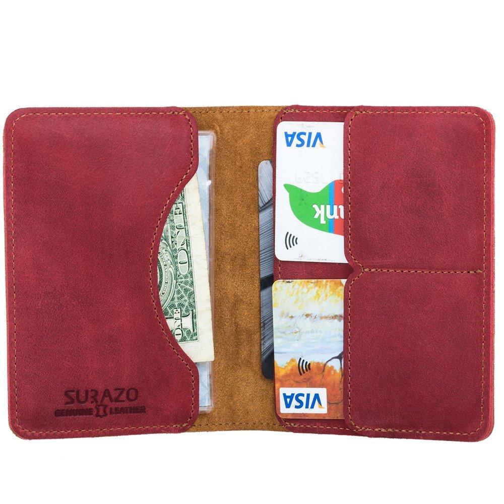 Surazo® Bifold Leather Wallet RFID Nubuck - Red