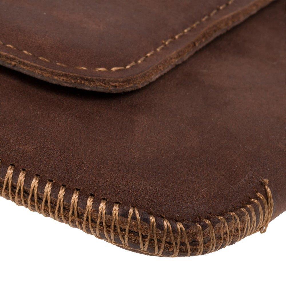 Surazo® Leather Belt Pouch case Nubuck - Nut brown - Bester Papa
