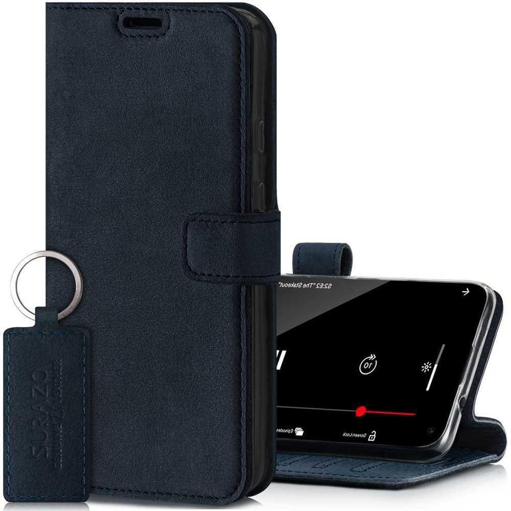 Surazo® Leather Wallet phone case Nubuck - Navy blue
