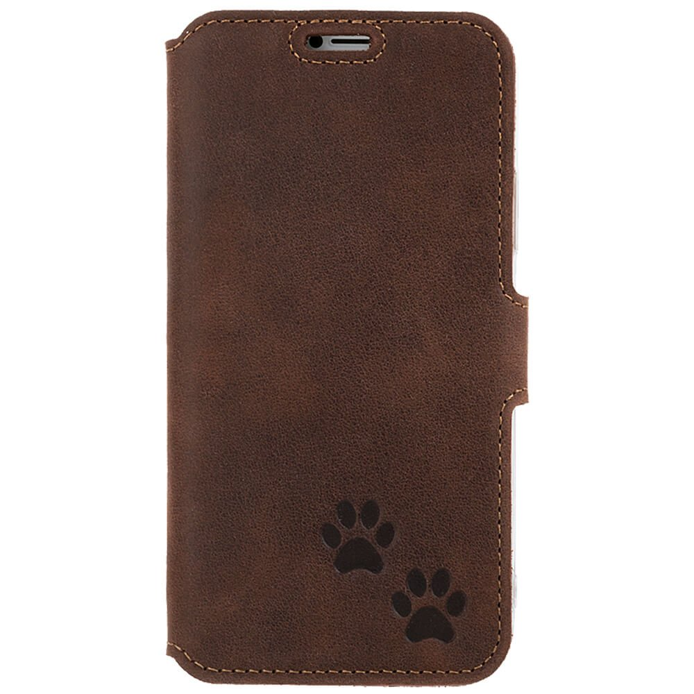 Surazo® Slim cover CC phone case Nubuck - Nut brown - Two paws