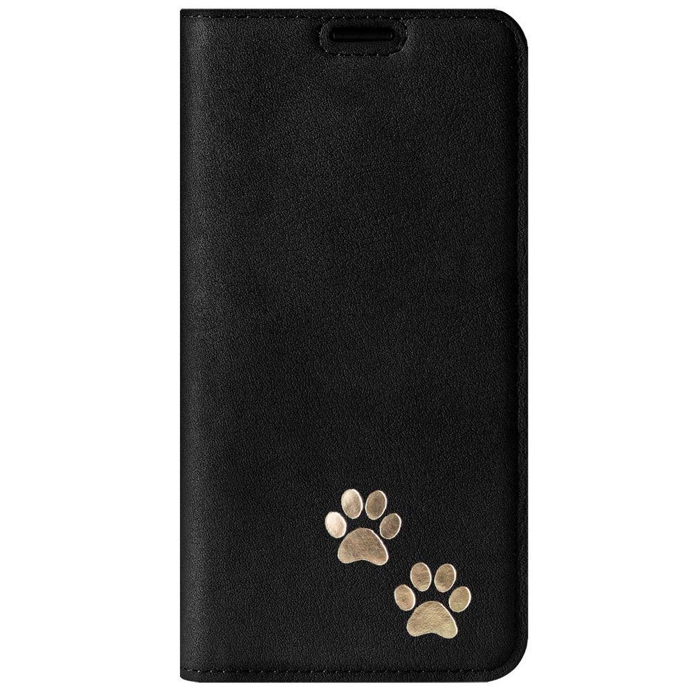 Surazo® Smart Magnet RFID case - Nubuck Black - Two paws Gold