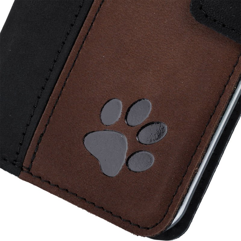 Wallet case - Nubuck Black and Nut brown - Paw