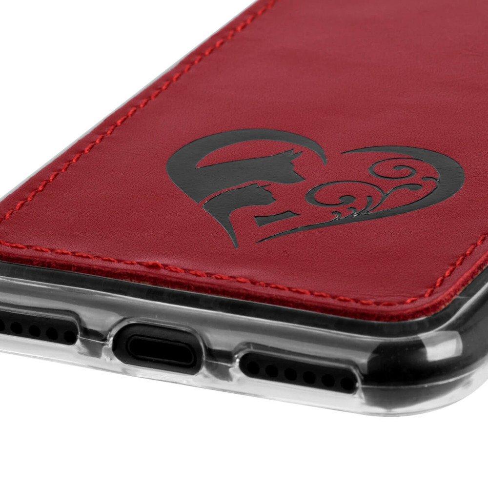 Surazo® Back case Lederhülle Costa - Rot - Animal love