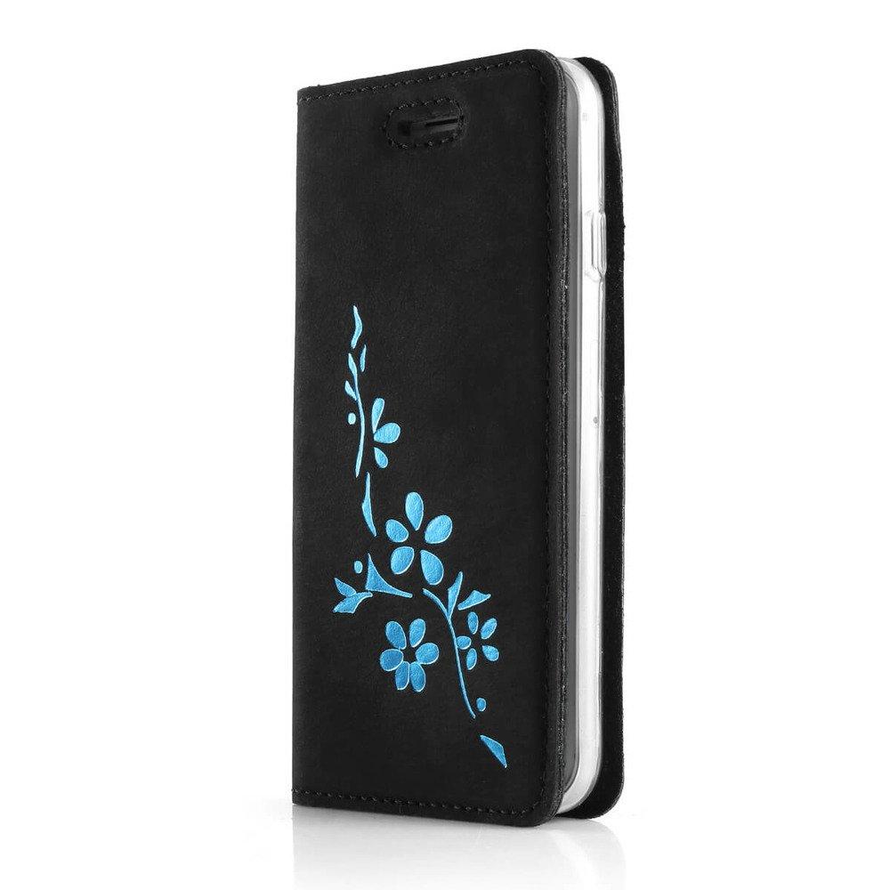 Surazo® Smart Magnet RFID Lederhülle - Nubuk Schwarz - Blumen Türkis