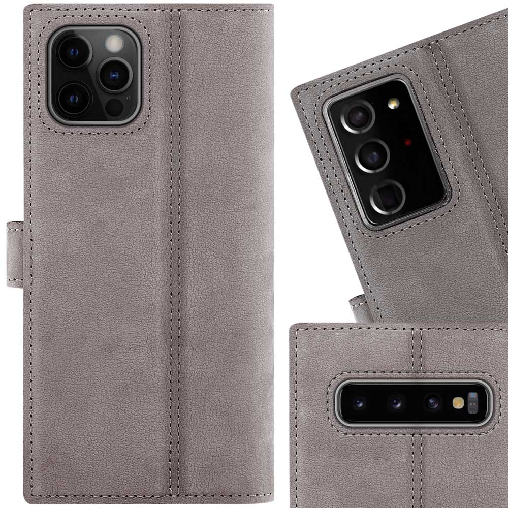Surazo® Wallet Handy Lederhülle Nubuck - Grau