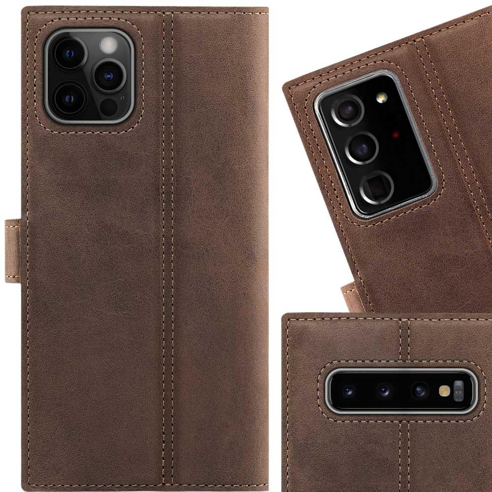 Surazo® Wallet Handy Lederhülle Nubuck - Nussbraun