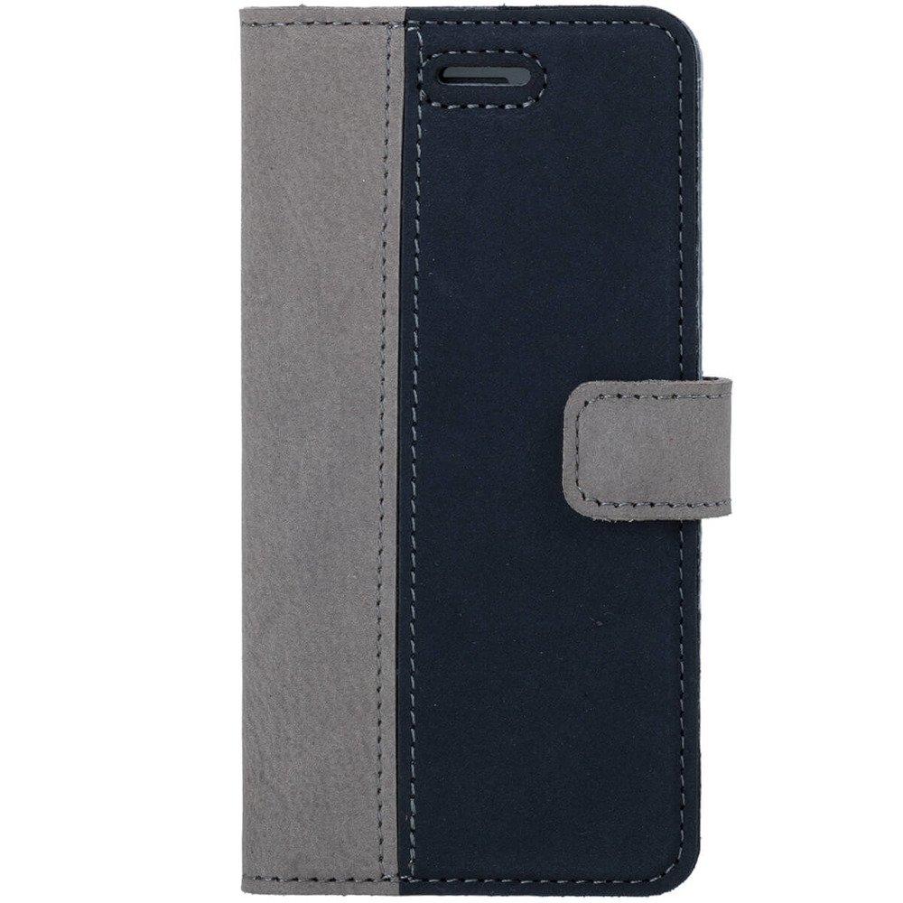 Surazo® Zweifarbige Wallet Lederhülle - Grau und Marineblau