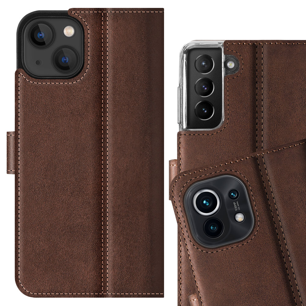 Surazo® Zweifarbige Wallet Lederhülle - Nussbraun und Schwarz