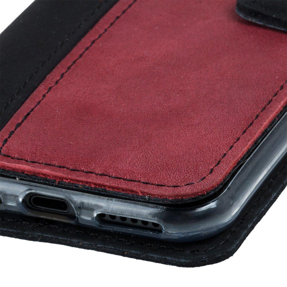 Surazo® Zweifarbige Wallet Lederhülle - Schwarz und Rot