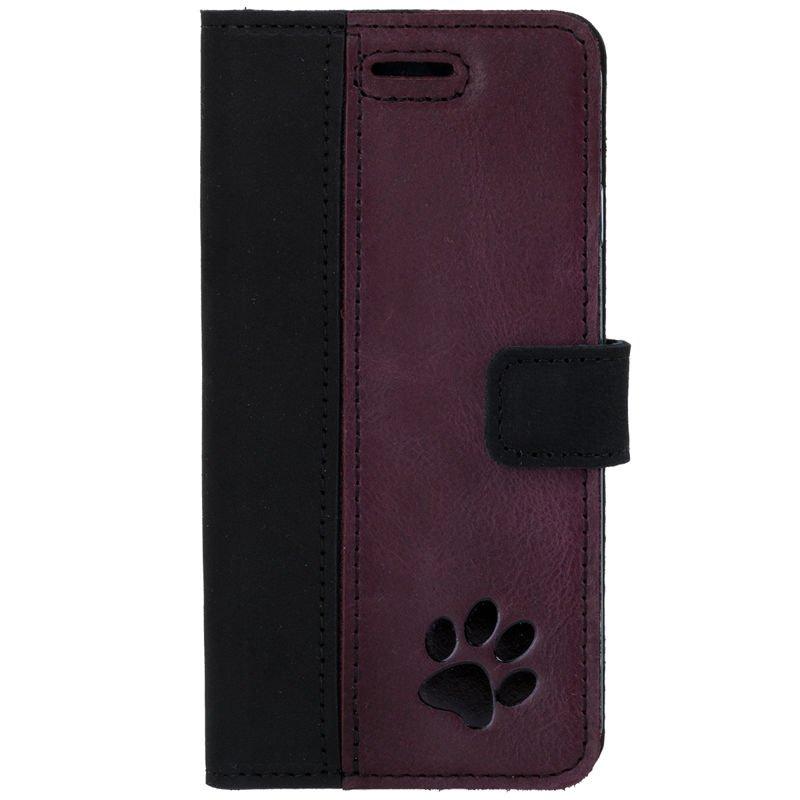 Surazo® Zweifarbige Wallet Lederhülle - Schwarz und Burgund  - Pfote