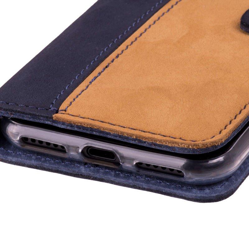 Wallet case - Nubuk Marineblau und Camel