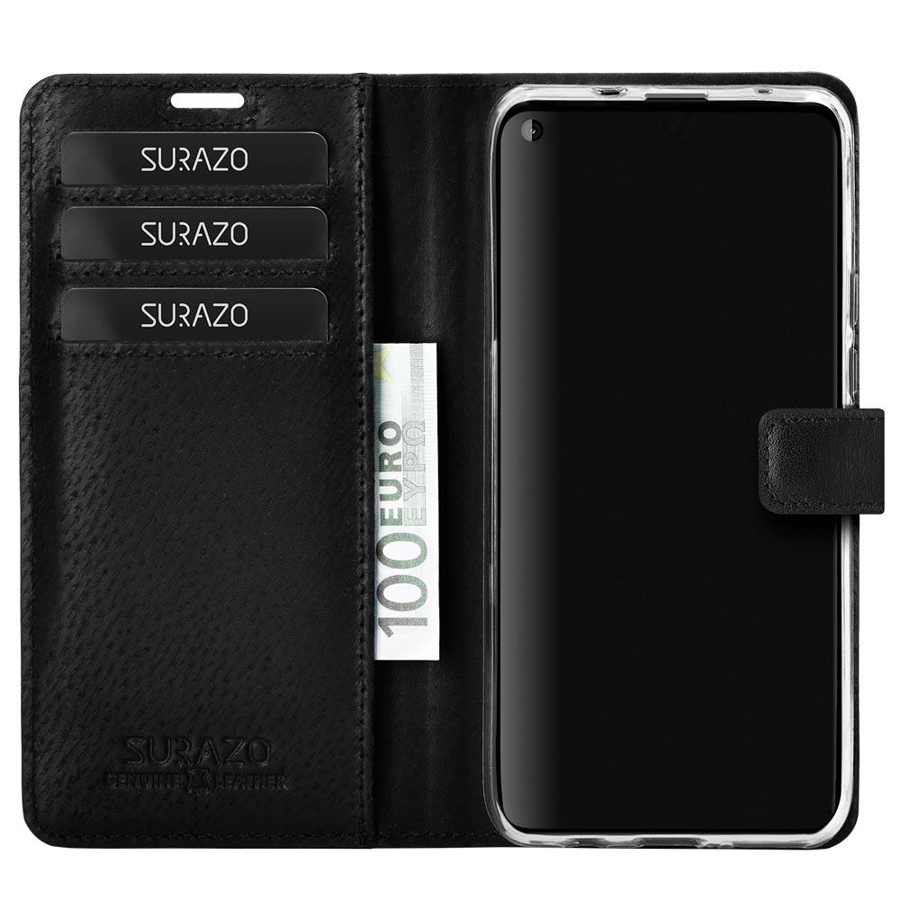 Wallet case - Nubuk Schwarz - Gold Herzen