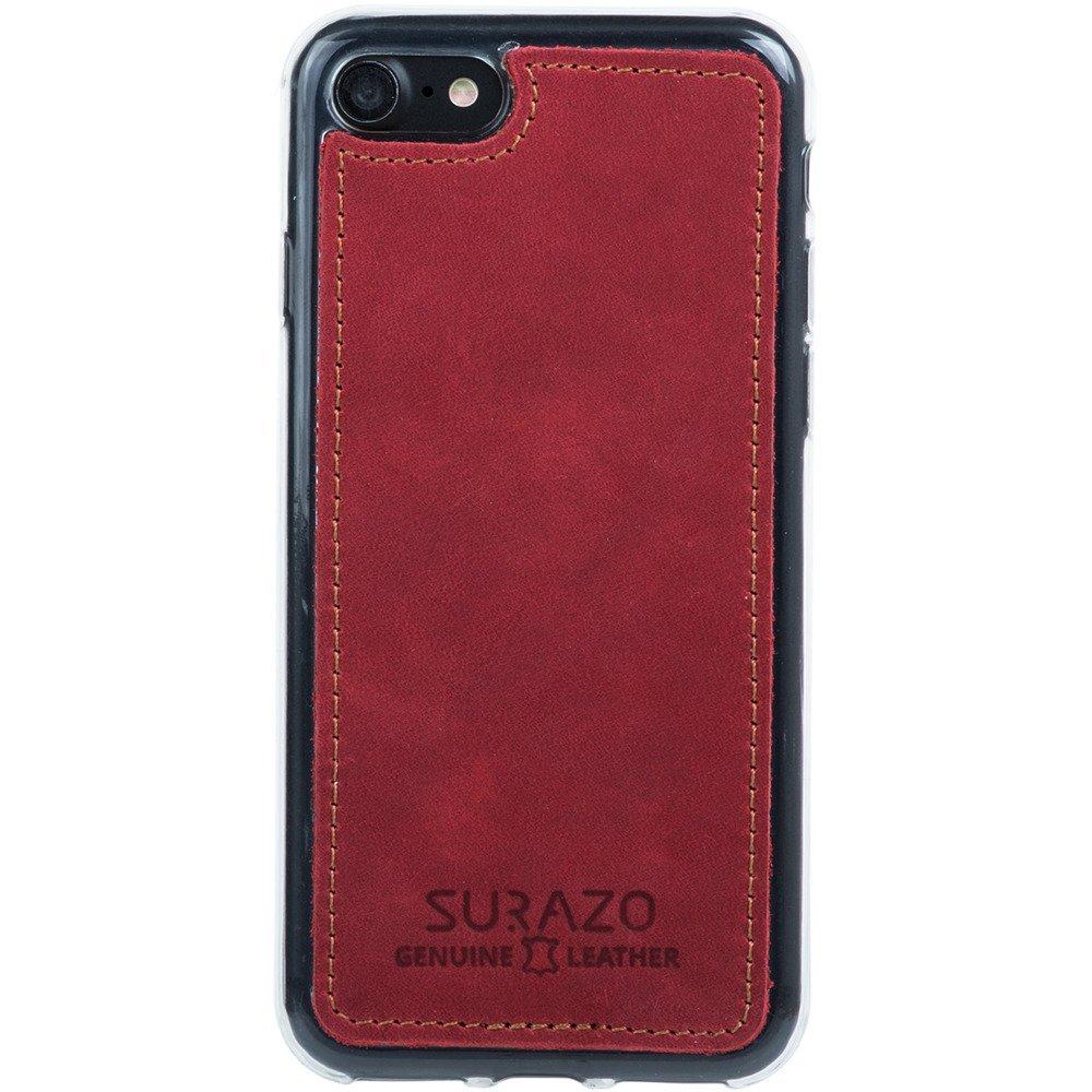 Surazo® Skórzane Etui Back case Nubuk - Czerwony