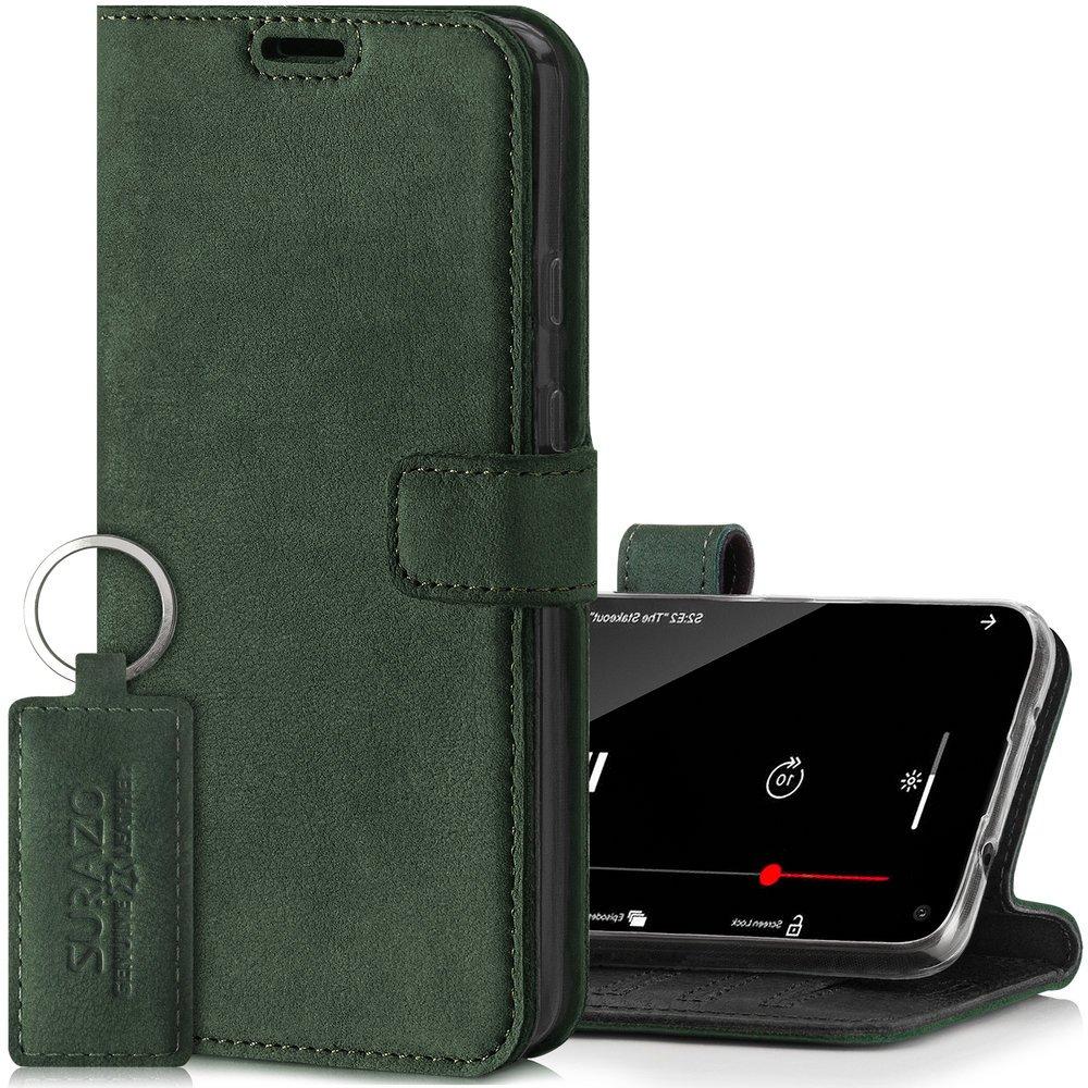 Surazo® Skórzane Etui Wallet case Nubuk - Ciemny Zielony
