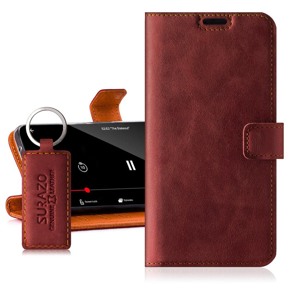 Surazo® Skórzane Etui Wallet case Nubuk - Czerwony