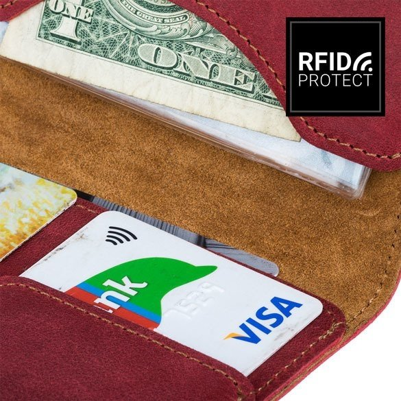 Surazo® Skórzany portfel RFID Nubuk - Czerwony